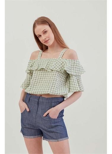 Vitrin VİTRİN Askılı Volanlı Eteği Lastikli Bluz Yeşil